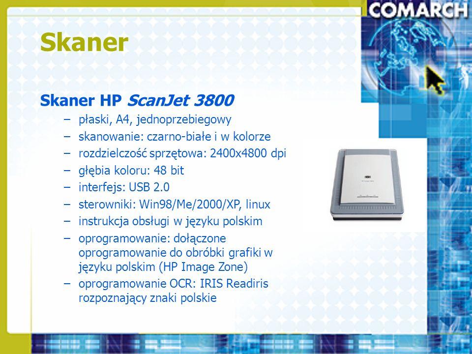 Skaner Skaner HP ScanJet 3800 –płaski, A4, jednoprzebiegowy –skanowanie: czarno-białe i w kolorze –rozdzielczość sprzętowa: 2400x4800 dpi –głębia kolo