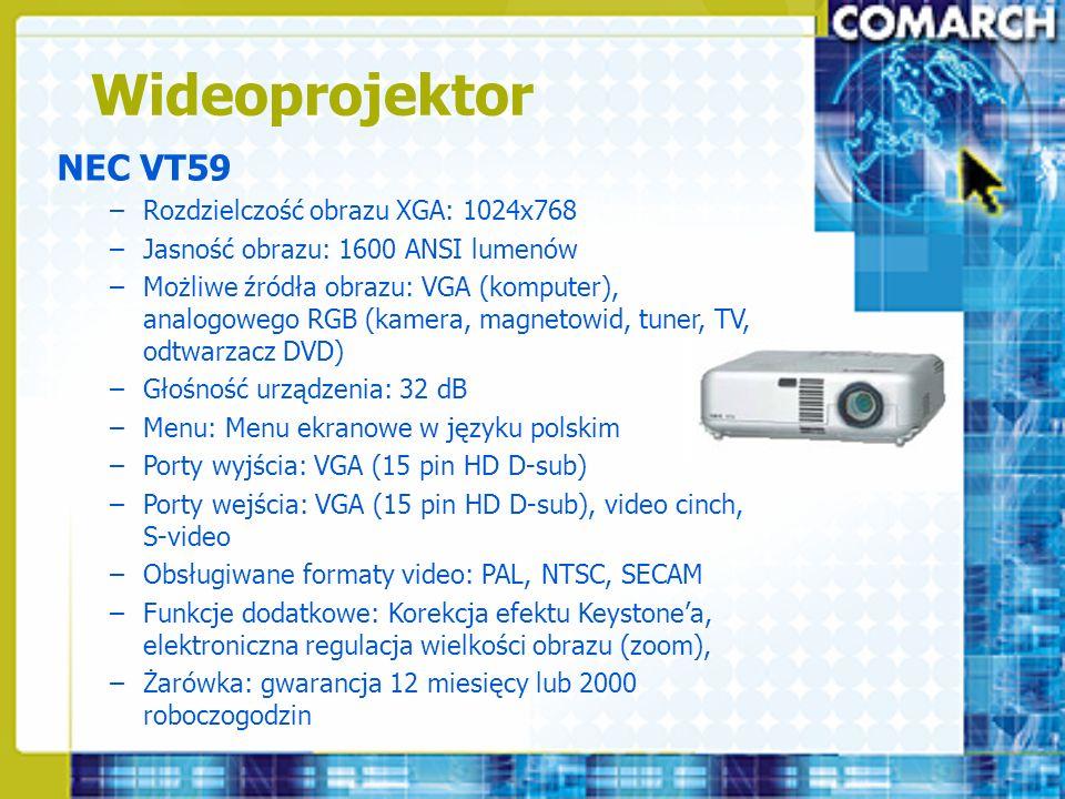 Wideoprojektor NEC VT59 –Rozdzielczość obrazu XGA: 1024x768 –Jasność obrazu: 1600 ANSI lumenów –Możliwe źródła obrazu: VGA (komputer), analogowego RGB