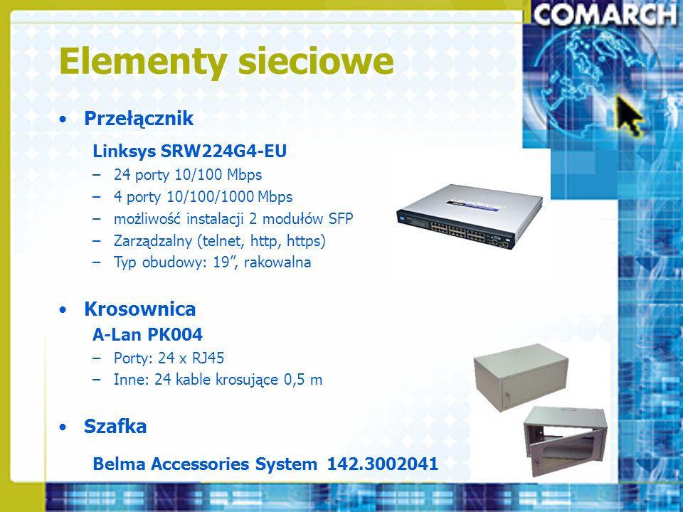 Elementy sieciowe Przełącznik Linksys SRW224G4-EU –24 porty 10/100 Mbps –4 porty 10/100/1000 Mbps –możliwość instalacji 2 modułów SFP –Zarządzalny (te