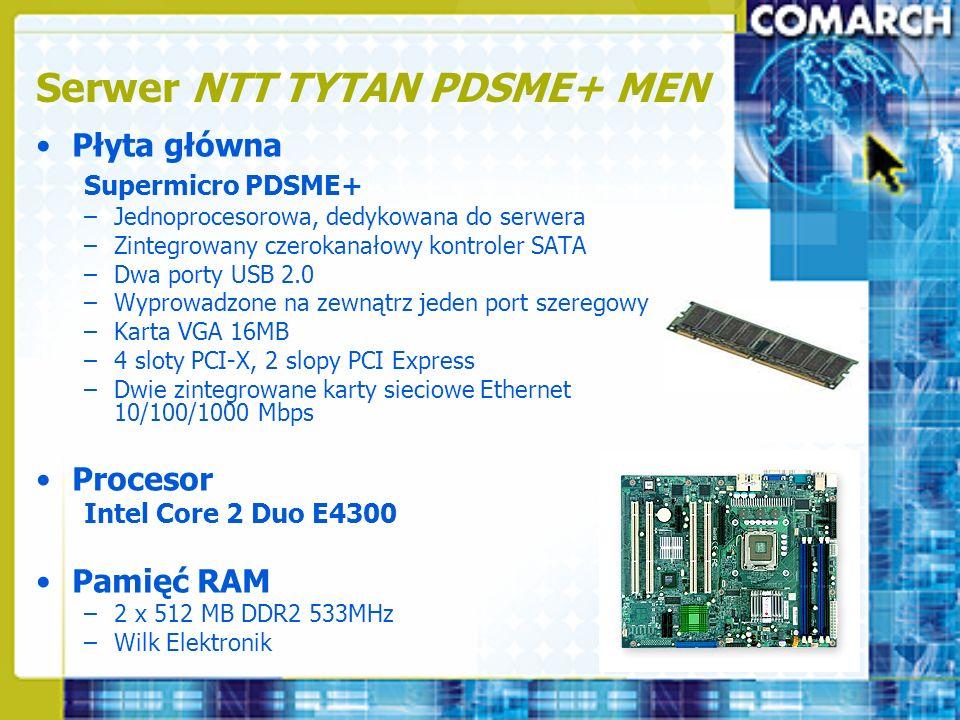 Serwer NTT TYTAN PDSME+ MEN Płyta główna Supermicro PDSME+ –Jednoprocesorowa, dedykowana do serwera –Zintegrowany czerokanałowy kontroler SATA –Dwa po