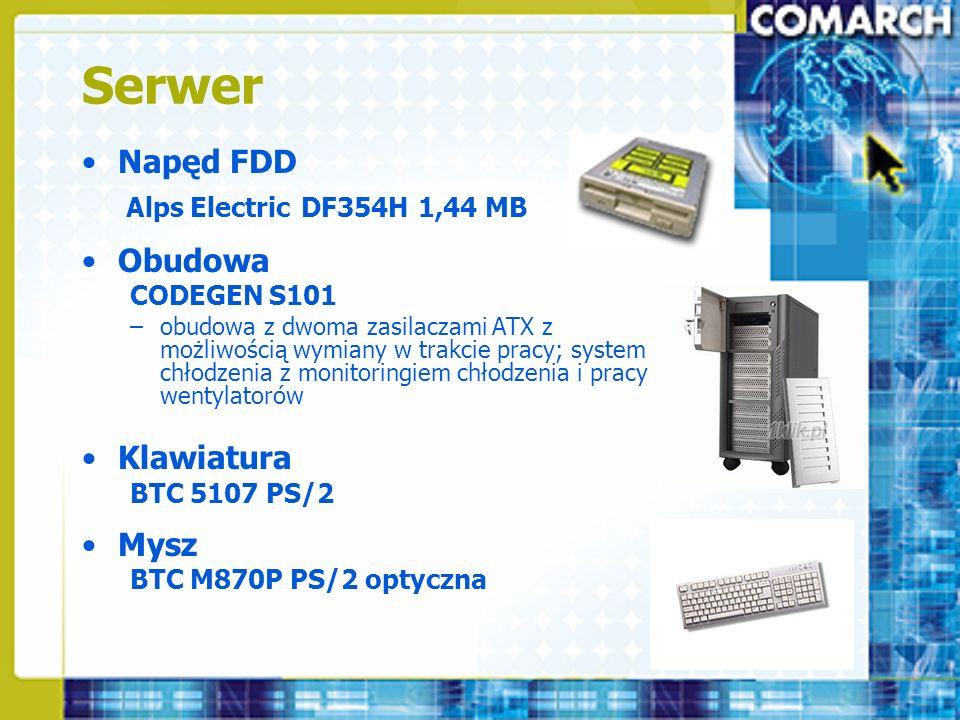 Serwer Napęd FDD Alps Electric DF354H 1,44 MB Obudowa CODEGEN S101 –obudowa z dwoma zasilaczami ATX z możliwością wymiany w trakcie pracy; system chło