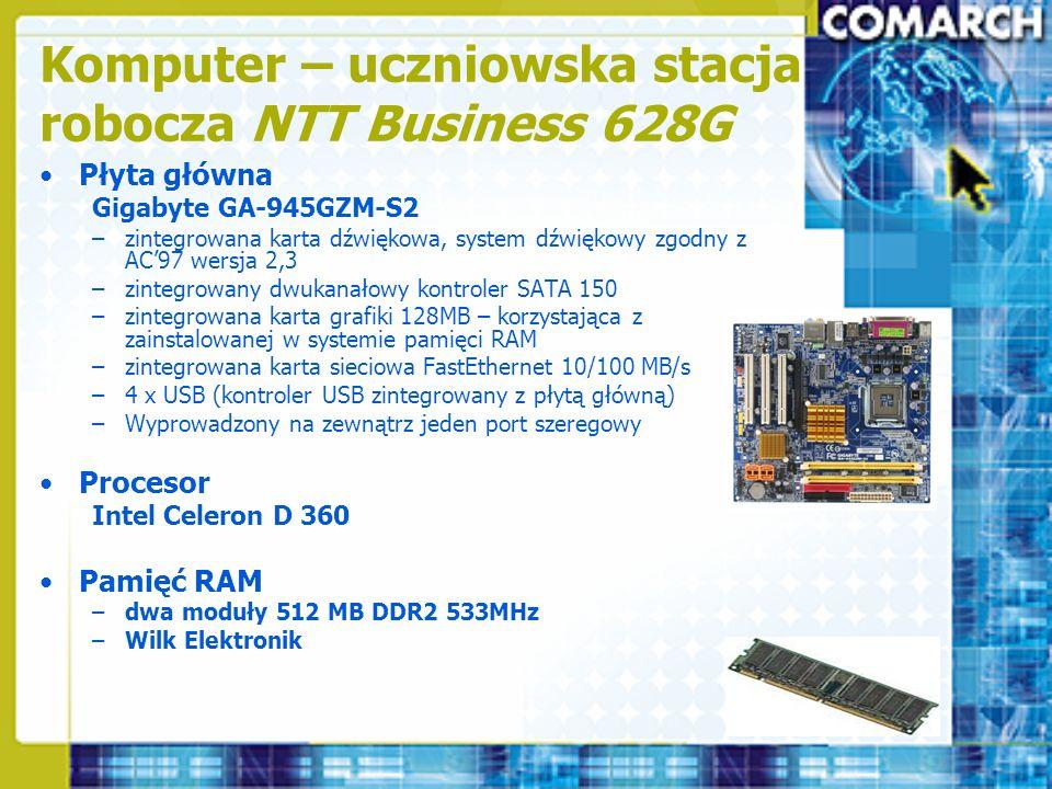 Komputer – uczniowska stacja robocza NTT Business 628G Płyta główna Gigabyte GA-945GZM-S2 –zintegrowana karta dźwiękowa, system dźwiękowy zgodny z AC9