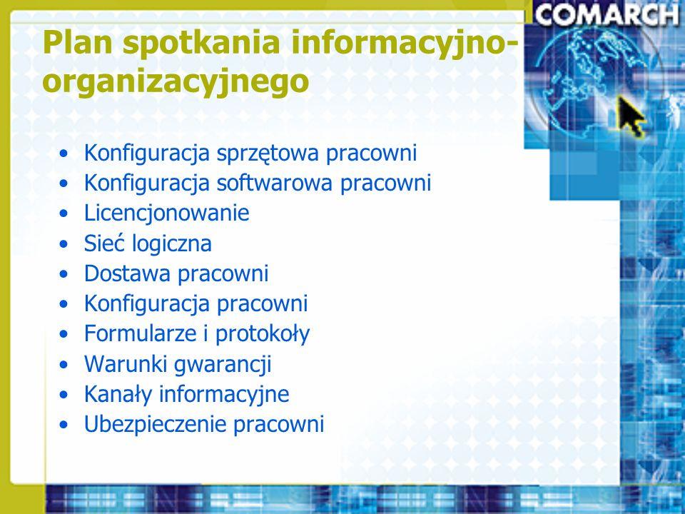 Plan spotkania informacyjno- organizacyjnego Konfiguracja sprzętowa pracowni Konfiguracja softwarowa pracowni Licencjonowanie Sieć logiczna Dostawa pr