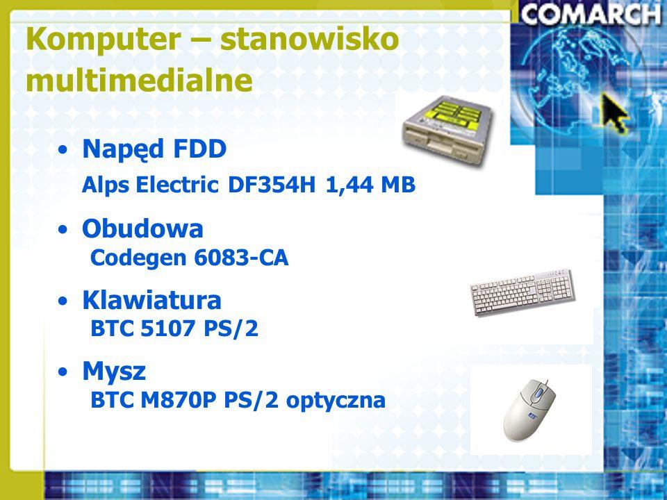 Napęd FDD Alps Electric DF354H 1,44 MB Obudowa Codegen 6083-CA Klawiatura BTC 5107 PS/2 Mysz BTC M870P PS/2 optyczna Komputer – stanowisko multimedial