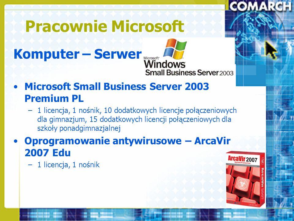 Pracownie Microsoft Komputer – Serwer Microsoft Small Business Server 2003 Premium PL –1 licencja, 1 nośnik, 10 dodatkowych licencje połączeniowych dl