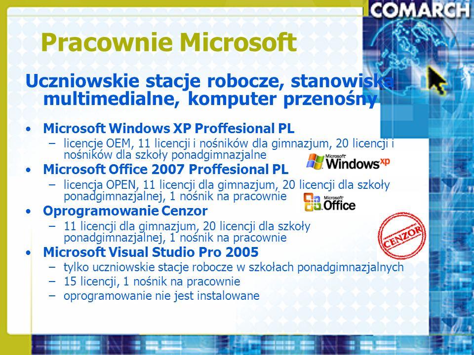 Pracownie Microsoft Uczniowskie stacje robocze, stanowiska multimedialne, komputer przenośny Microsoft Windows XP Proffesional PL –licencje OEM, 11 li