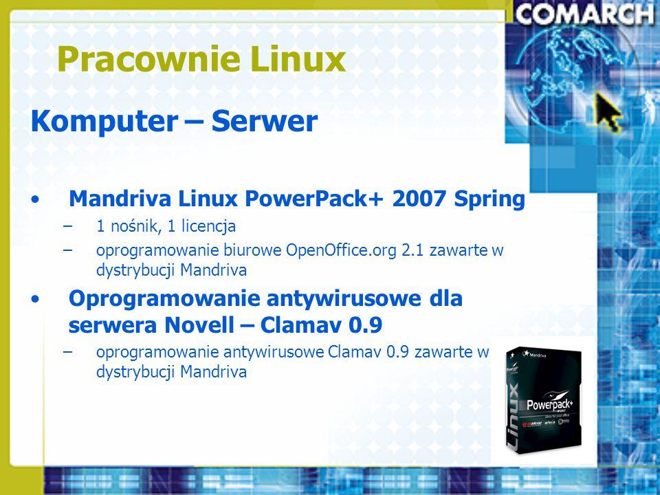 Pracownie Linux Komputer – Serwer Mandriva Linux PowerPack+ 2007 Spring –1 nośnik, 1 licencja –oprogramowanie biurowe OpenOffice.org 2.1 zawarte w dys