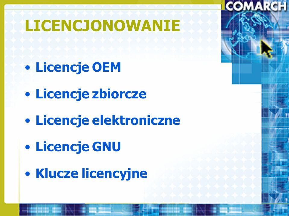 LICENCJONOWANIE Licencje OEM Licencje zbiorcze Licencje elektroniczne Licencje GNU Klucze licencyjne