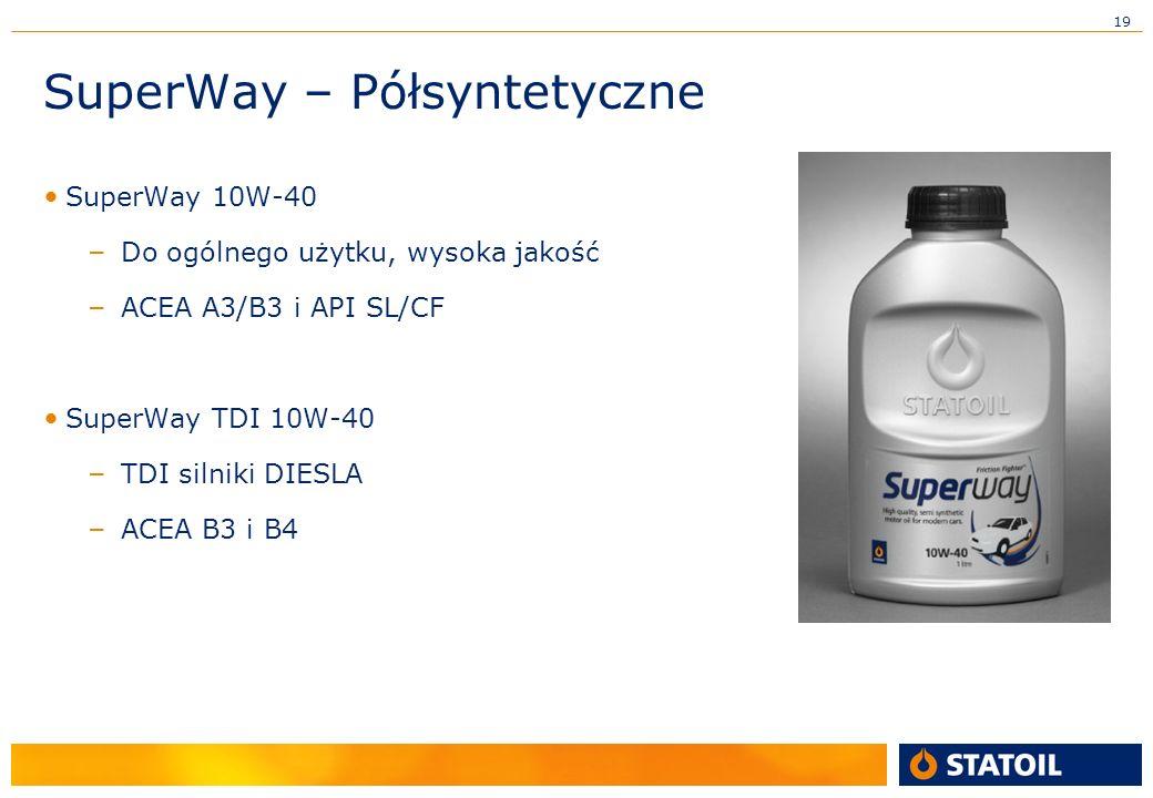 19 SuperWay – Półsyntetyczne SuperWay 10W-40 – Do ogólnego użytku, wysoka jakość – ACEA A3/B3 i API SL/CF SuperWay TDI 10W-40 – TDI silniki DIESLA – ACEA B3 i B4