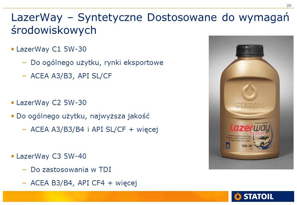 20 LazerWay – Syntetyczne Dostosowane do wymagań środowiskowych LazerWay C1 5W-30 – Do ogólnego użytku, rynki eksportowe – ACEA A3/B3, API SL/CF LazerWay C2 5W-30 Do ogólnego użytku, najwyższa jakość – ACEA A3/B3/B4 i API SL/CF + więcej LazerWay C3 5W-40 – Do zastosowania w TDI – ACEA B3/B4, API CF4 + więcej