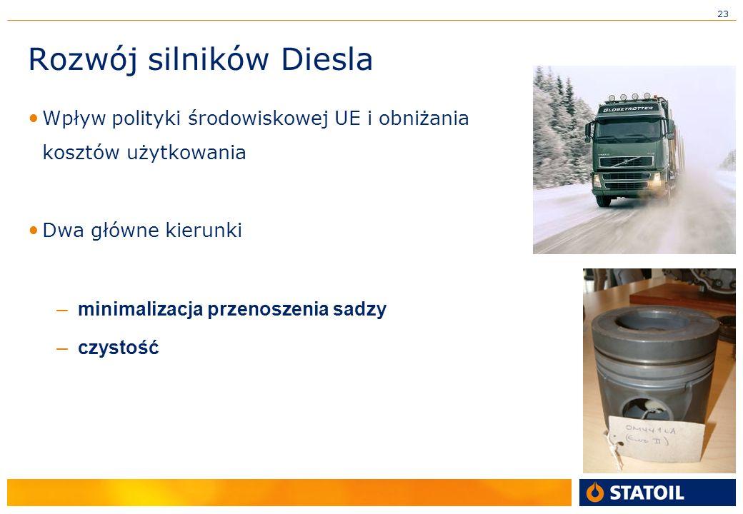 23 Rozwój silników Diesla Wpływ polityki środowiskowej UE i obniżania kosztów użytkowania Dwa główne kierunki – minimalizacja przenoszenia sadzy – czystość