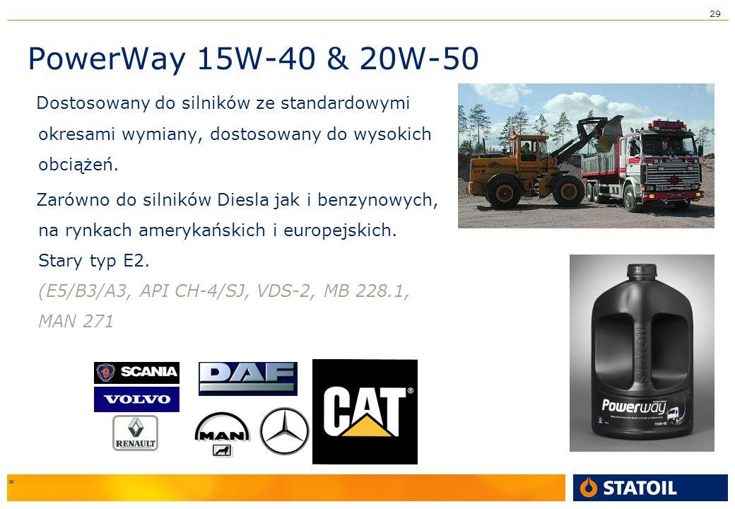 29 PowerWay 15W-40 & 20W-50 Dostosowany do silników ze standardowymi okresami wymiany, dostosowany do wysokich obciążeń.
