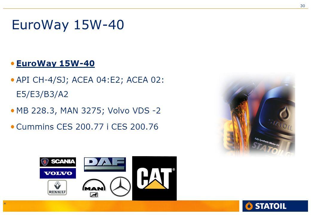 30 EuroWay 15W-40 API CH-4/SJ; ACEA 04:E2; ACEA 02: E5/E3/B3/A2 MB 228.3, MAN 3275; Volvo VDS -2 Cummins CES 200.77 i CES 200.76 *