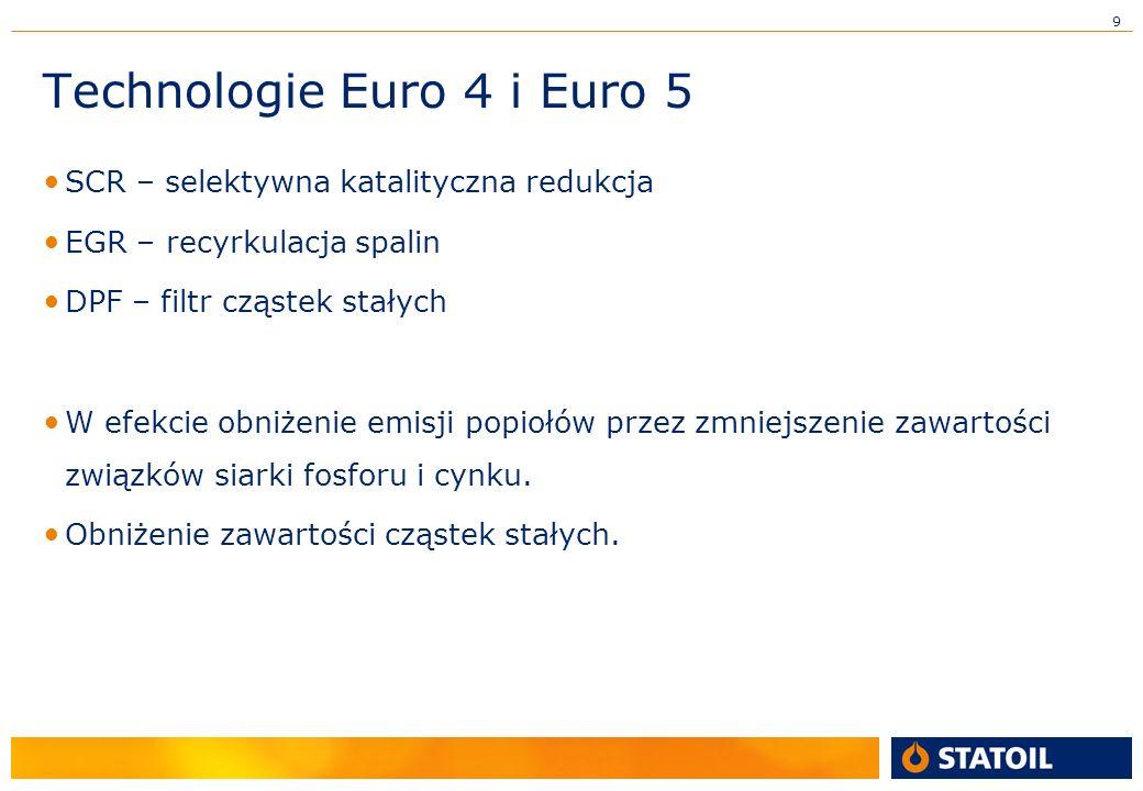 9 Technologie Euro 4 i Euro 5 SCR – selektywna katalityczna redukcja EGR – recyrkulacja spalin DPF – filtr cząstek stałych W efekcie obniżenie emisji popiołów przez zmniejszenie zawartości związków siarki fosforu i cynku.