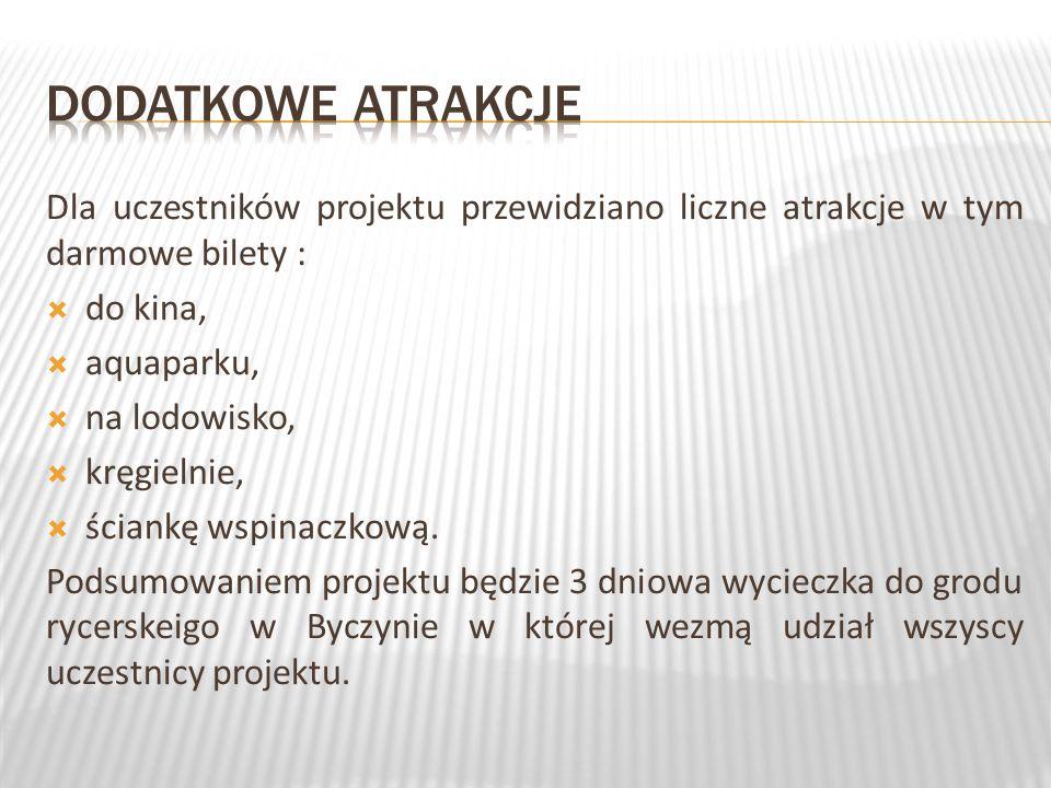 Dla uczestników projektu przewidziano liczne atrakcje w tym darmowe bilety : do kina, aquaparku, na lodowisko, kręgielnie, ściankę wspinaczkową.
