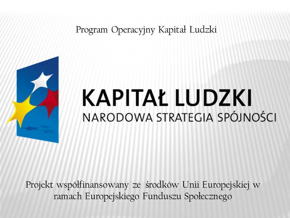 Projekt współfinansowany ze ś rodków Unii Europejskiej w ramach Europejskiego Funduszu Społecznego Program Operacyjny Kapitał Ludzki