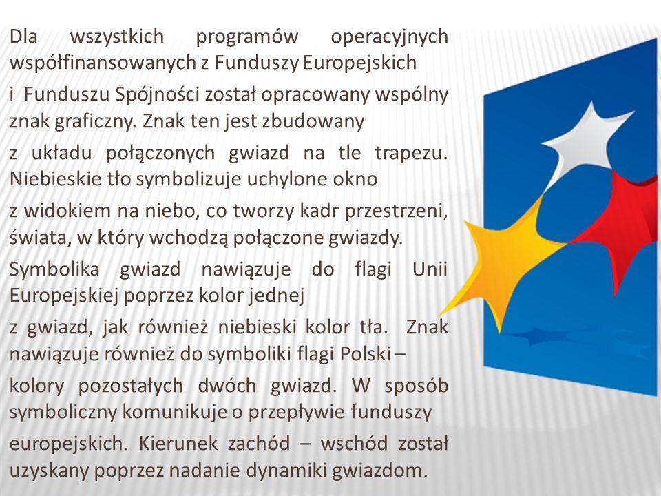 Dla wszystkich programów operacyjnych współfinansowanych z Funduszy Europejskich i Funduszu Spójności został opracowany wspólny znak graficzny.