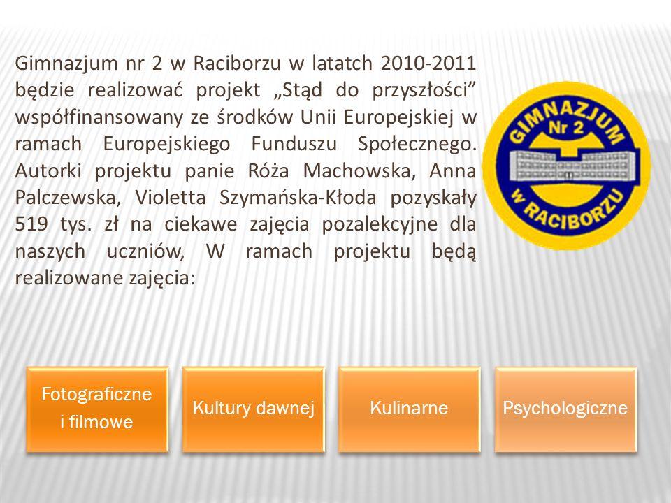 Gimnazjum nr 2 w Raciborzu w latatch 2010-2011 będzie realizować projekt Stąd do przyszłości współfinansowany ze środków Unii Europejskiej w ramach Europejskiego Funduszu Społecznego.