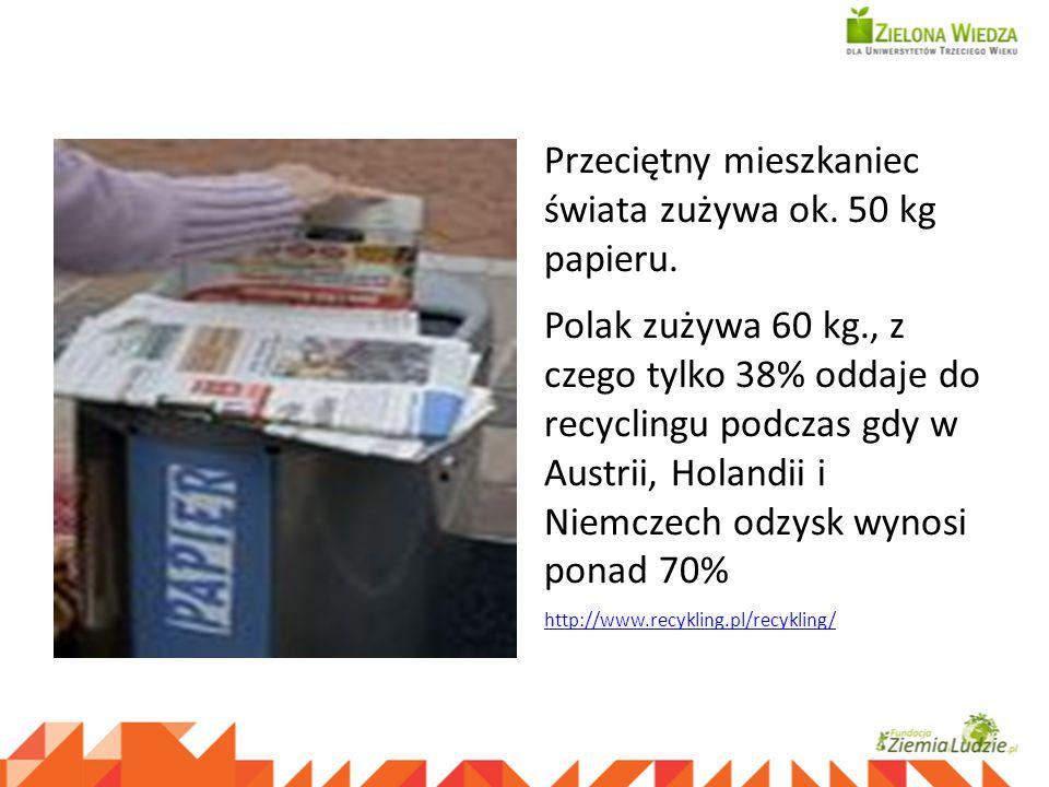 Przeciętny mieszkaniec świata zużywa ok. 50 kg papieru. Polak zużywa 60 kg., z czego tylko 38% oddaje do recyclingu podczas gdy w Austrii, Holandii i