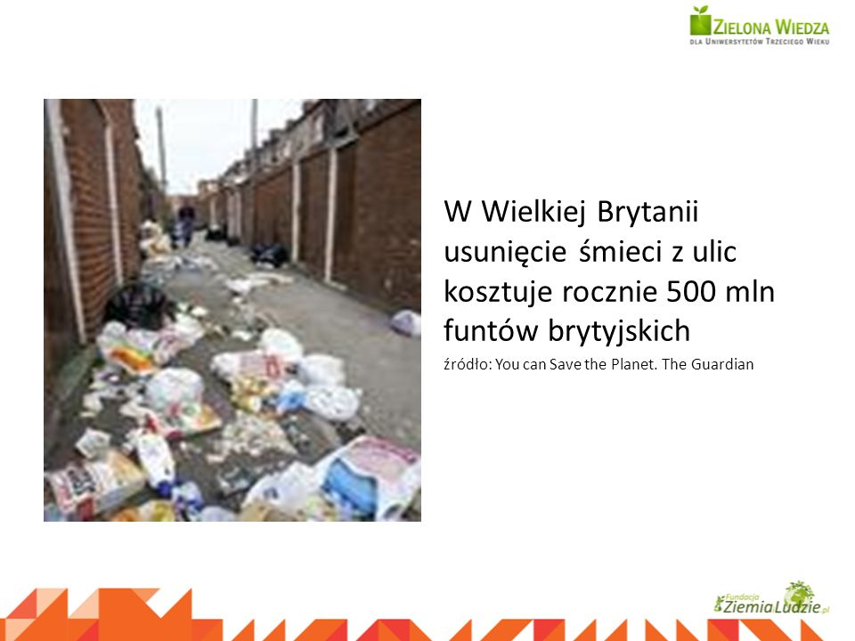 W Wielkiej Brytanii usunięcie śmieci z ulic kosztuje rocznie 500 mln funtów brytyjskich źródło: You can Save the Planet. The Guardian