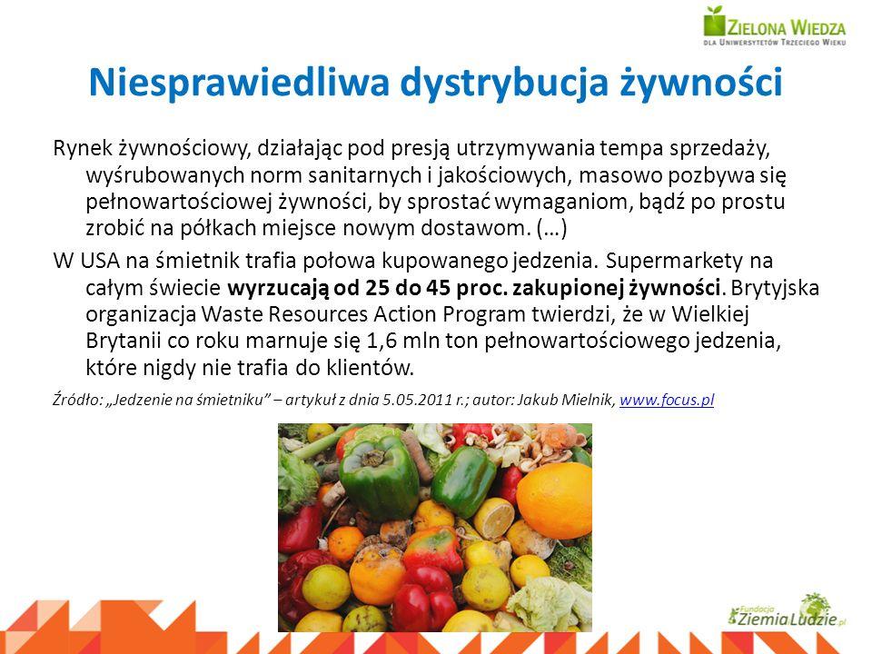 Niesprawiedliwa dystrybucja żywności Rynek żywnościowy, działając pod presją utrzymywania tempa sprzedaży, wyśrubowanych norm sanitarnych i jakościowy
