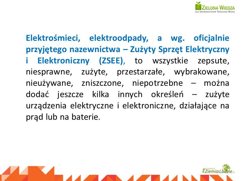 Elektrośmieci, elektroodpady, a wg. oficjalnie przyjętego nazewnictwa – Zużyty Sprzęt Elektryczny i Elektroniczny (ZSEE), to wszystkie zepsute, niespr