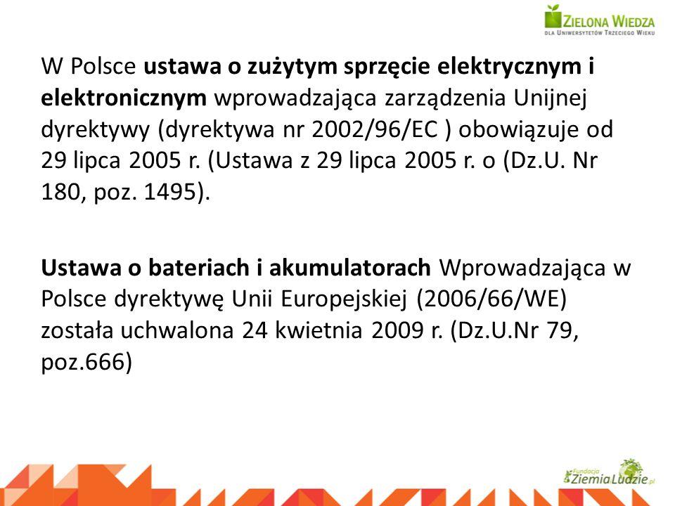 W Polsce ustawa o zużytym sprzęcie elektrycznym i elektronicznym wprowadzająca zarządzenia Unijnej dyrektywy (dyrektywa nr 2002/96/EC ) obowiązuje od