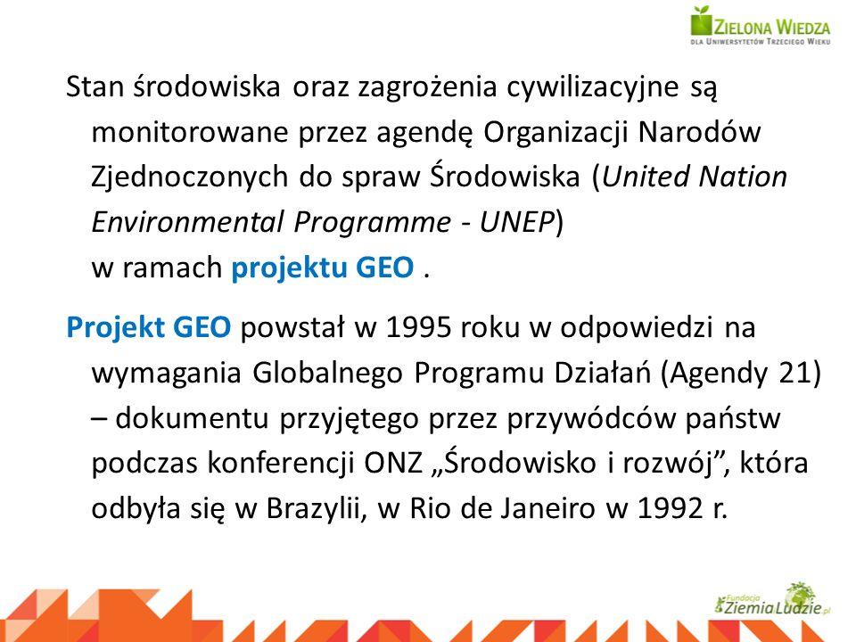 Stan środowiska oraz zagrożenia cywilizacyjne są monitorowane przez agendę Organizacji Narodów Zjednoczonych do spraw Środowiska (United Nation Enviro