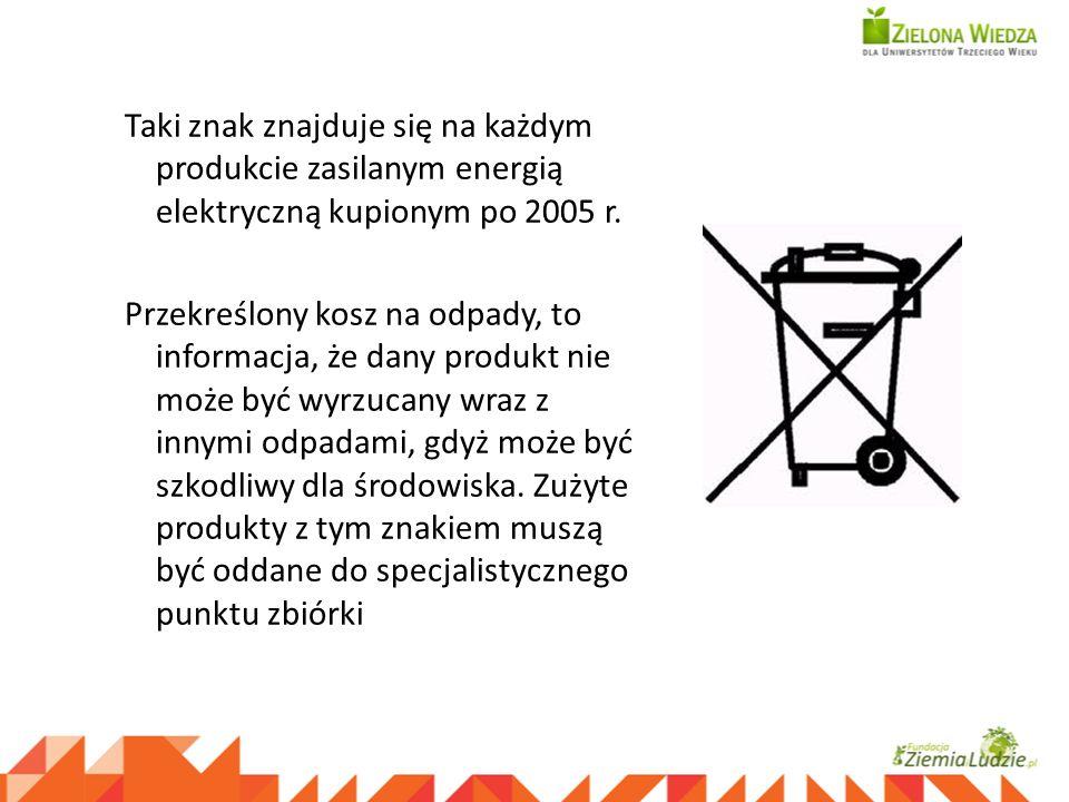 Taki znak znajduje się na każdym produkcie zasilanym energią elektryczną kupionym po 2005 r. Przekreślony kosz na odpady, to informacja, że dany produ
