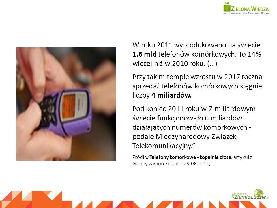 W roku 2011 wyprodukowano na świecie 1.6 mld telefonów komórkowych. To 14% więcej niż w 2010 roku. (…) Przy takim tempie wzrostu w 2017 roczna sprzeda