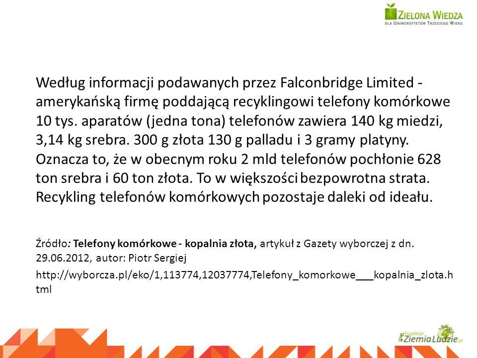 Według informacji podawanych przez Falconbridge Limited - amerykańską firmę poddającą recyklingowi telefony komórkowe 10 tys. aparatów (jedna tona) te