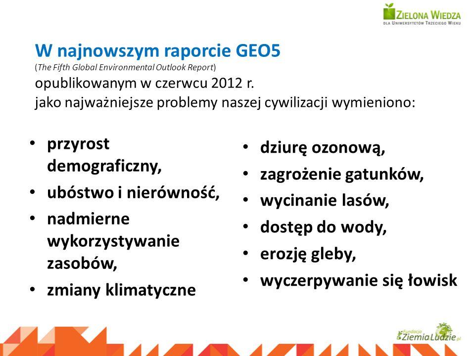 W najnowszym raporcie GEO5 (The Fifth Global Environmental Outlook Report) opublikowanym w czerwcu 2012 r. jako najważniejsze problemy naszej cywiliza