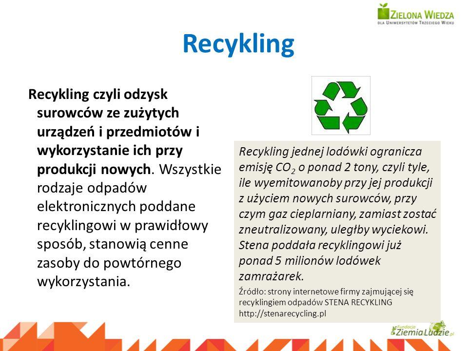 Recykling Recykling czyli odzysk surowców ze zużytych urządzeń i przedmiotów i wykorzystanie ich przy produkcji nowych. Wszystkie rodzaje odpadów elek