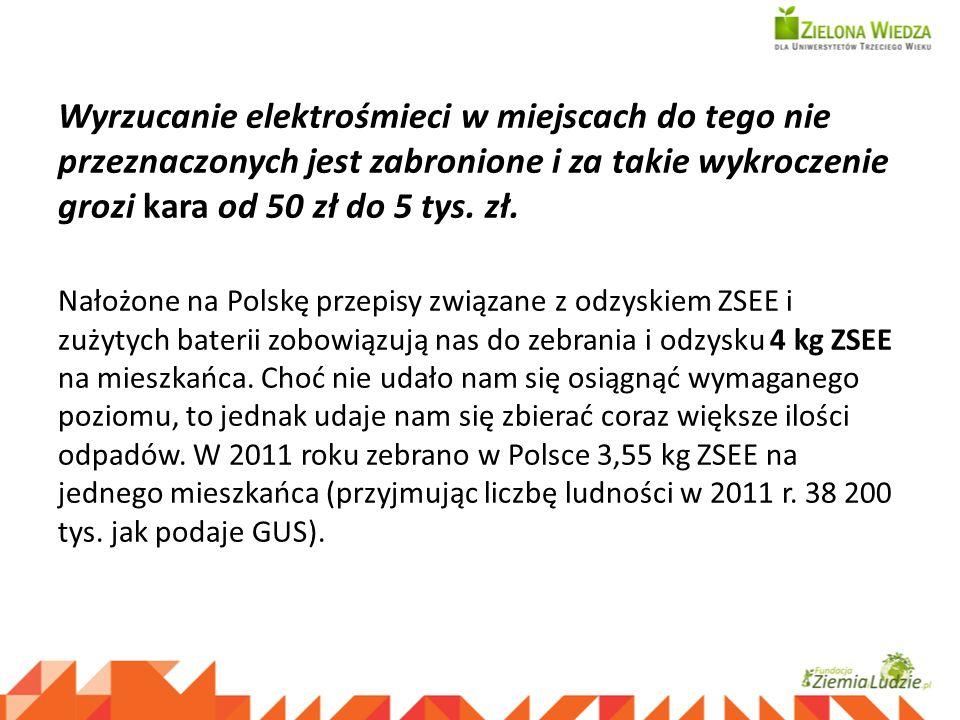 Wyrzucanie elektrośmieci w miejscach do tego nie przeznaczonych jest zabronione i za takie wykroczenie grozi kara od 50 zł do 5 tys. zł. Nałożone na P