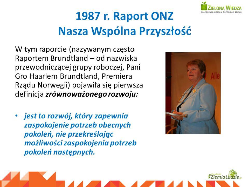 1987 r. Raport ONZ Nasza Wspólna Przyszłość W tym raporcie (nazywanym często Raportem Brundtland – od nazwiska przewodniczącej grupy roboczej, Pani Gr