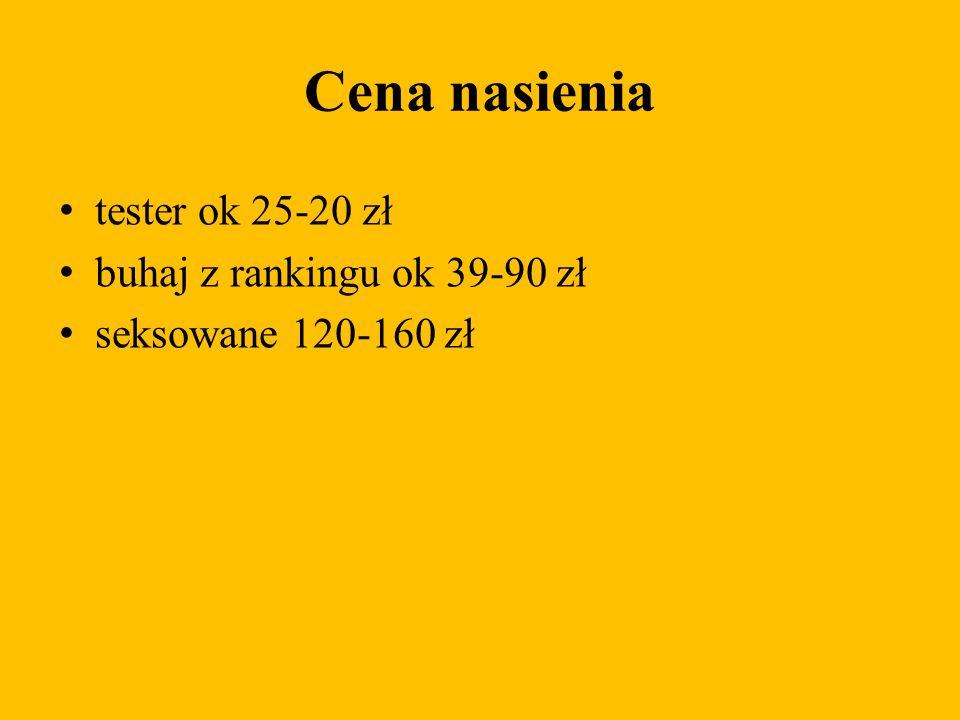 Cena nasienia tester ok 25-20 zł buhaj z rankingu ok 39-90 zł seksowane 120-160 zł