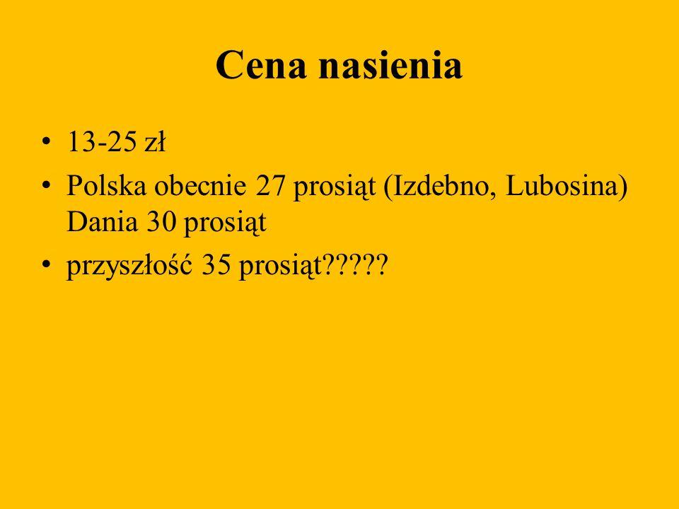 Cena nasienia 13-25 zł Polska obecnie 27 prosiąt (Izdebno, Lubosina) Dania 30 prosiąt przyszłość 35 prosiąt?????