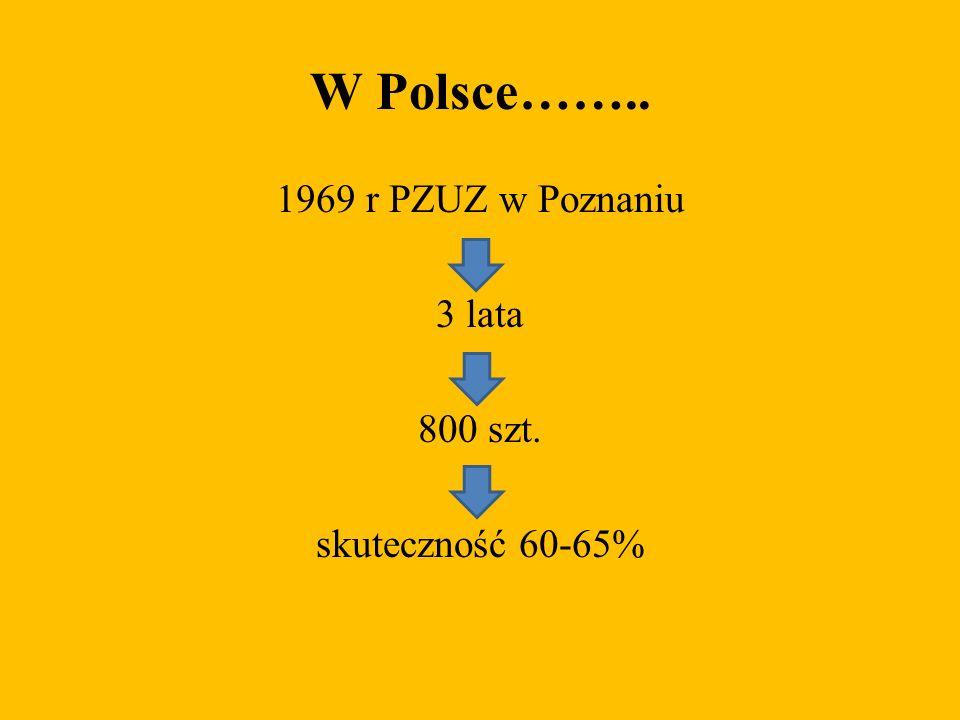 W Polsce…….. 1969 r PZUZ w Poznaniu 3 lata 800 szt. skuteczność 60-65%