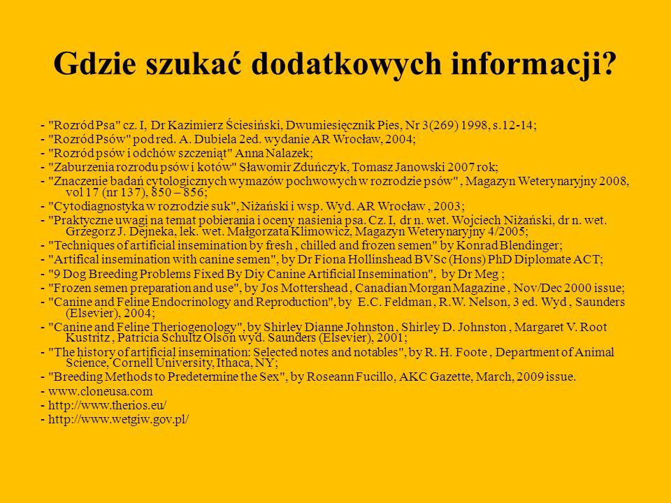 Gdzie szukać dodatkowych informacji? -