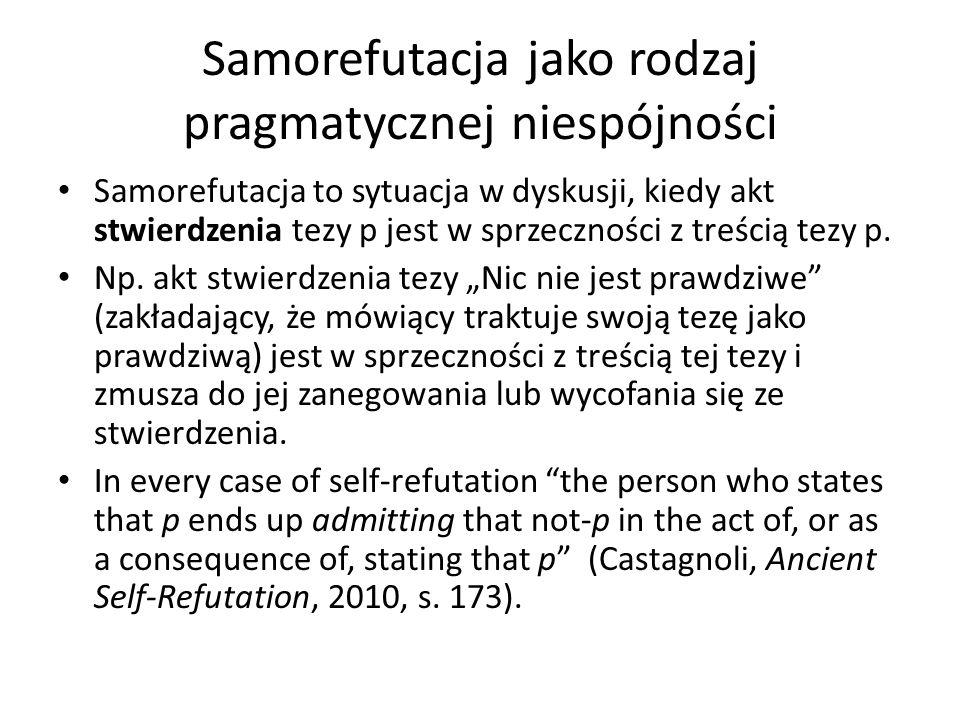 Samorefutacja jako rodzaj pragmatycznej niespójności Samorefutacja to sytuacja w dyskusji, kiedy akt stwierdzenia tezy p jest w sprzeczności z treścią