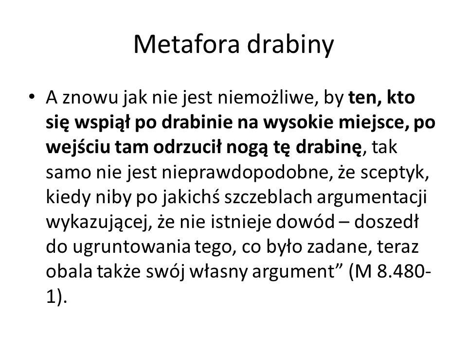 Metafora drabiny A znowu jak nie jest niemożliwe, by ten, kto się wspiął po drabinie na wysokie miejsce, po wejściu tam odrzucił nogą tę drabinę, tak