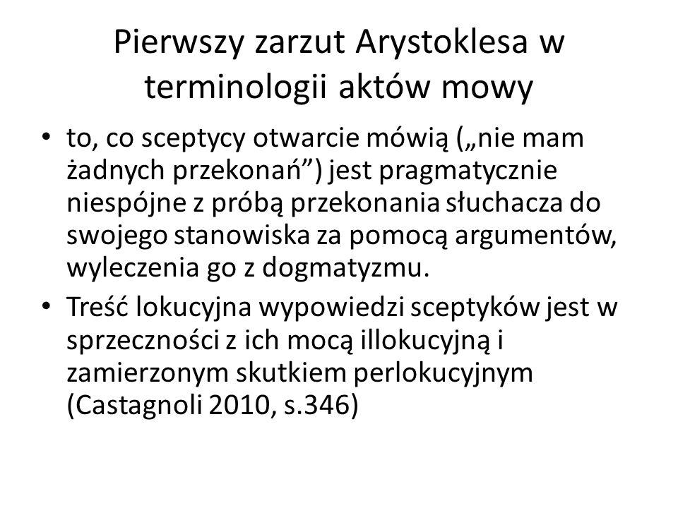 Pierwszy zarzut Arystoklesa w terminologii aktów mowy to, co sceptycy otwarcie mówią (nie mam żadnych przekonań) jest pragmatycznie niespójne z próbą