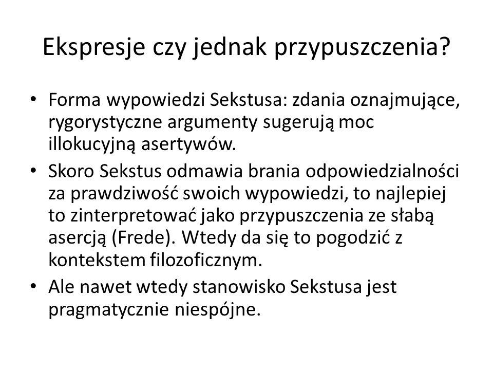 Ekspresje czy jednak przypuszczenia? Forma wypowiedzi Sekstusa: zdania oznajmujące, rygorystyczne argumenty sugerują moc illokucyjną asertywów. Skoro