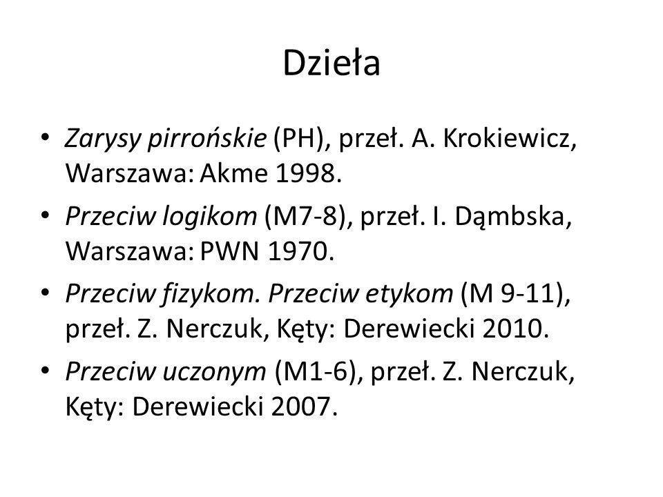 Dzieła Zarysy pirrońskie (PH), przeł. A. Krokiewicz, Warszawa: Akme 1998. Przeciw logikom (M7-8), przeł. I. Dąmbska, Warszawa: PWN 1970. Przeciw fizyk