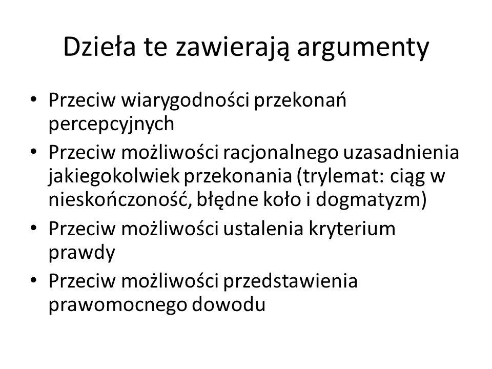 Dzieła te zawierają argumenty Przeciw wiarygodności przekonań percepcyjnych Przeciw możliwości racjonalnego uzasadnienia jakiegokolwiek przekonania (t