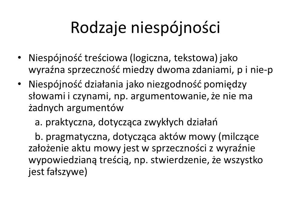 Rodzaje niespójności Niespójność treściowa (logiczna, tekstowa) jako wyraźna sprzeczność miedzy dwoma zdaniami, p i nie-p Niespójność działania jako n