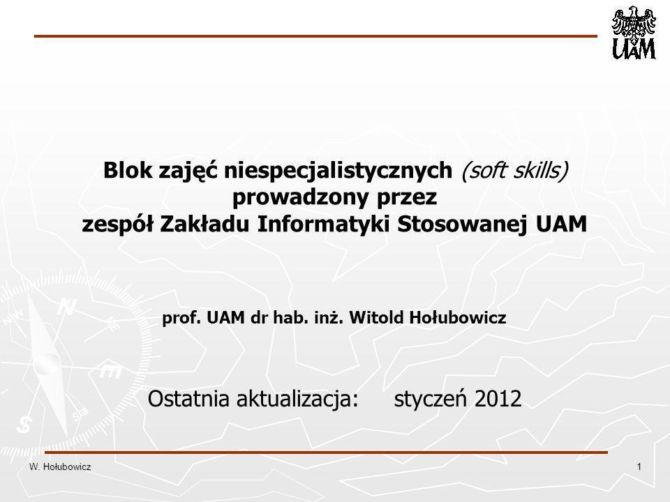 Blok zajęć niespecjalistycznych (soft skills) prowadzony przez zespół Zakładu Informatyki Stosowanej UAM prof.