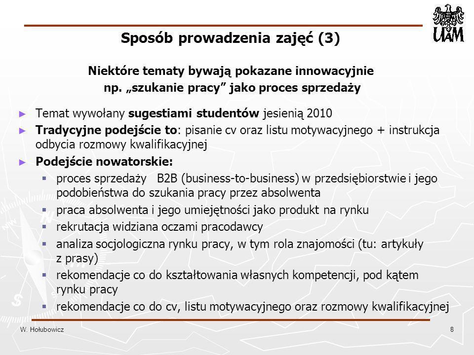 Sposób prowadzenia zajęć (3) Niektóre tematy bywają pokazane innowacyjnie np.
