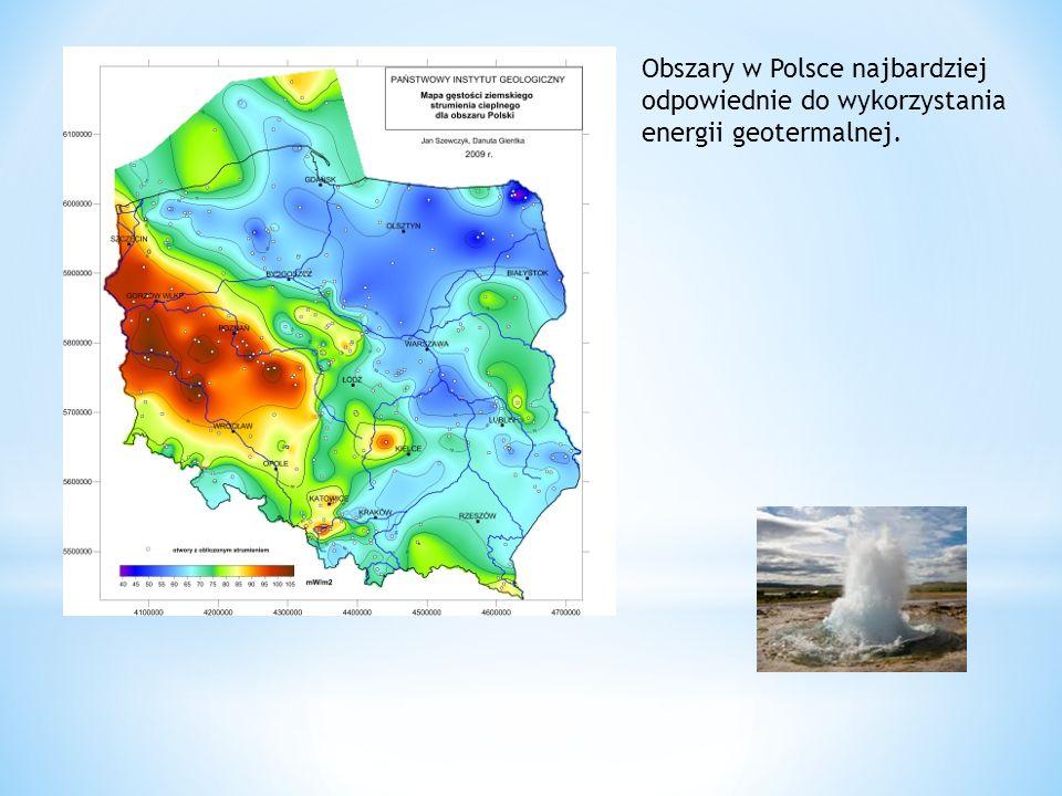 Obszary w Polsce najbardziej odpowiednie do wykorzystania energii geotermalnej.