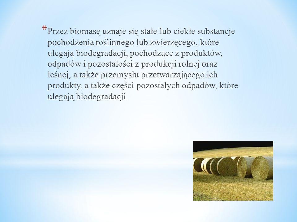 * Przez biomasę uznaje się stałe lub ciekłe substancje pochodzenia roślinnego lub zwierzęcego, które ulegają biodegradacji, pochodzące z produktów, od